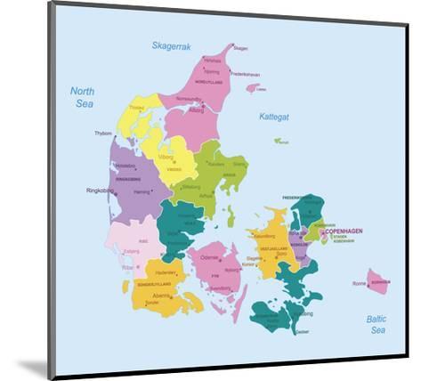 Denmark-Highly Detailed Map-ekler-Mounted Art Print