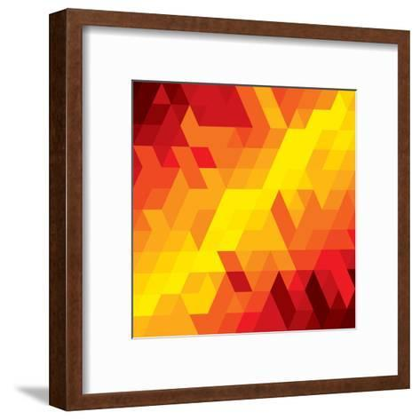 Abstract Colorful Of Diamond, Cube And Square Shapes-smarnad-Framed Art Print