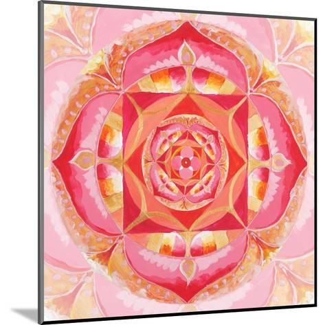 Abstract Red Painted Picture With Circle Pattern, Mandala Of Muladhara Chakra-shooarts-Mounted Art Print