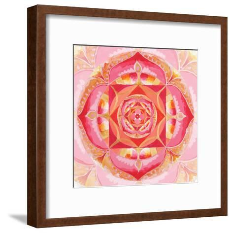 Abstract Red Painted Picture With Circle Pattern, Mandala Of Muladhara Chakra-shooarts-Framed Art Print