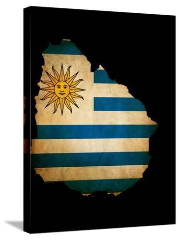Outline Map Of Uruguay With Grunge Flag Insert Isolated On Black-Veneratio-Stretched Canvas Print