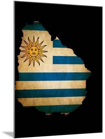 Outline Map Of Uruguay With Grunge Flag Insert Isolated On Black-Veneratio-Mounted Art Print