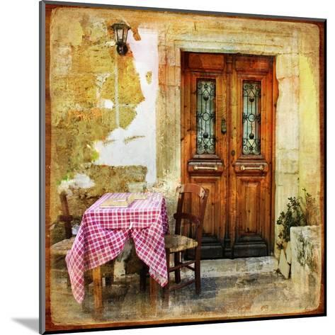 Pictorial Old Greek Streets With Tavernas - Retro Styled Picture-Maugli-l-Mounted Art Print