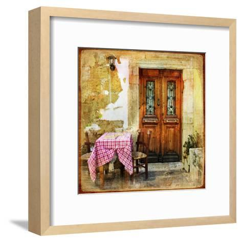Pictorial Old Greek Streets With Tavernas - Retro Styled Picture-Maugli-l-Framed Art Print