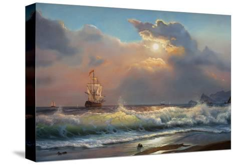 Oil Painting On Canvas , Sailboat Against A Background Of Sea-Lilun-Stretched Canvas Print