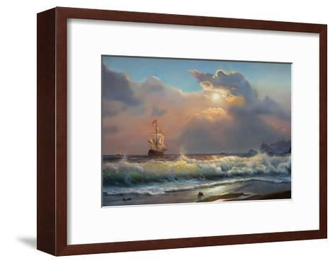 Oil Painting On Canvas , Sailboat Against A Background Of Sea-Lilun-Framed Art Print