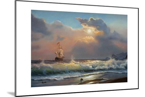 Oil Painting On Canvas , Sailboat Against A Background Of Sea-Lilun-Mounted Art Print