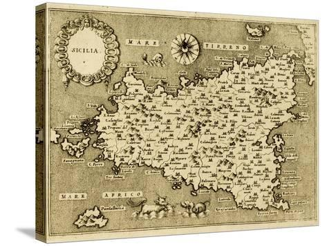 Sicily Old Map, May Be Approximately Dated To The Xvii Sec-marzolino-Stretched Canvas Print