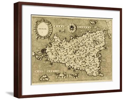 Sicily Old Map, May Be Approximately Dated To The Xvii Sec-marzolino-Framed Art Print
