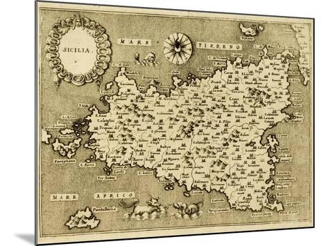 Sicily Old Map, May Be Approximately Dated To The Xvii Sec-marzolino-Mounted Art Print