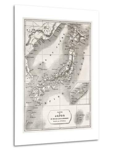 Japan Old Map. Created By Vuillemin And Erhard, Published On Le Tour Du Monde, Paris, 1860-marzolino-Metal Print