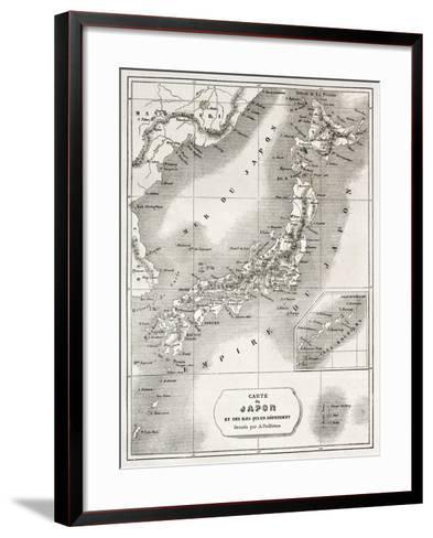 Japan Old Map. Created By Vuillemin And Erhard, Published On Le Tour Du Monde, Paris, 1860-marzolino-Framed Art Print