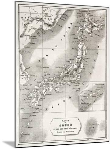 Japan Old Map. Created By Vuillemin And Erhard, Published On Le Tour Du Monde, Paris, 1860-marzolino-Mounted Art Print