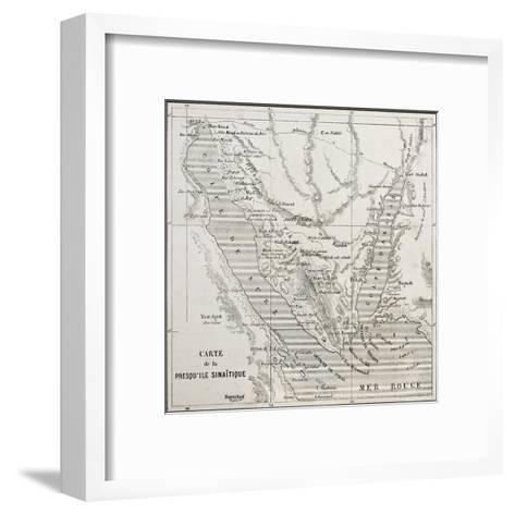 Old Map Of Sinai Peninsula. Created By Erhard, Published On Le Tour Du Monde, Paris, 1864-marzolino-Framed Art Print