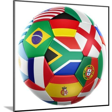 3D Rendering Of A Soccer Ball With Flags Of The Participating Countries In World Cup 2010-zentilia-Mounted Art Print