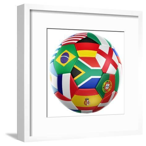 3D Rendering Of A Soccer Ball With Flags Of The Participating Countries In World Cup 2010-zentilia-Framed Art Print