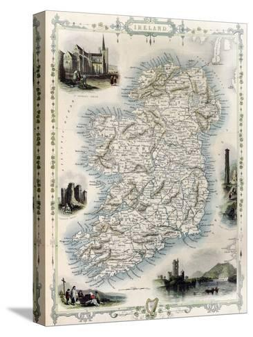 Ireland Old Map. Created By John Tallis, Published On Illustrated Atlas, London 1851-marzolino-Stretched Canvas Print