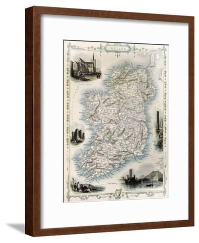 Ireland Old Map. Created By John Tallis, Published On Illustrated Atlas, London 1851-marzolino-Framed Art Print