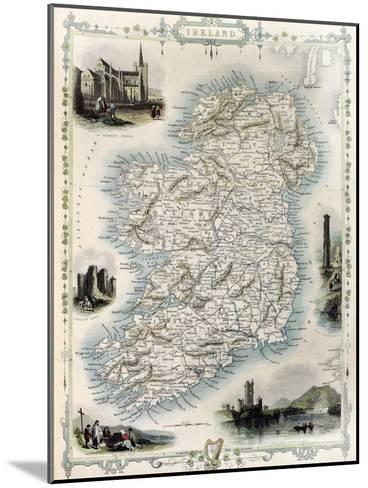 Ireland Old Map. Created By John Tallis, Published On Illustrated Atlas, London 1851-marzolino-Mounted Art Print