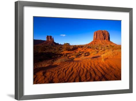 Monument Valley West Mitten And Merrick Butte Desert Sand Dunes Utah-holbox-Framed Art Print