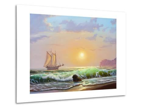 Oil Painting On Canvas , Sailboat Against A Background Of Sea Sunset-Lilun-Metal Print