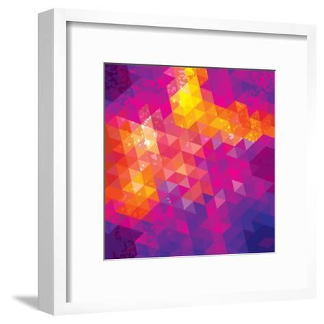 Square Composition With Geometric Shapes. Cover Background-nuraschka-Framed Art Print