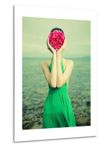 Surreal Portrait Of A Woman With A Flower Instead Of A Face-George Mayer-Metal Print