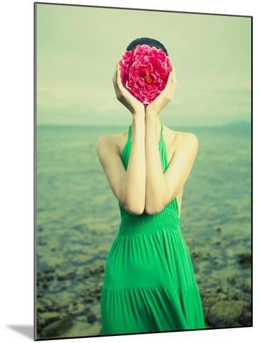 Surreal Portrait Of A Woman With A Flower Instead Of A Face-George Mayer-Mounted Art Print