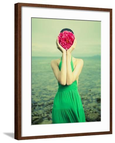 Surreal Portrait Of A Woman With A Flower Instead Of A Face-George Mayer-Framed Art Print