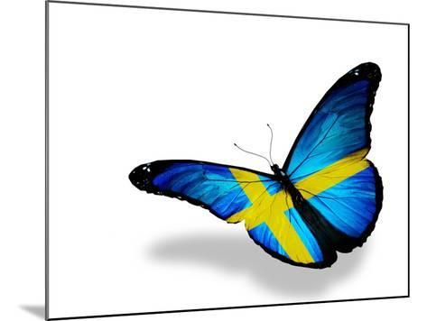 Swedish Flag Butterfly Flying, Isolated On White Background-suns_luck-Mounted Art Print