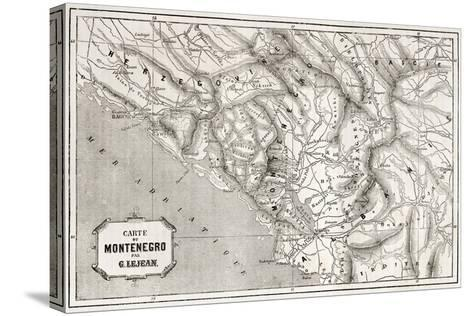 Old Map Of Montenegro. Created By Lejean, Published On Le Tour Du Monde, Paris, 1860-marzolino-Stretched Canvas Print