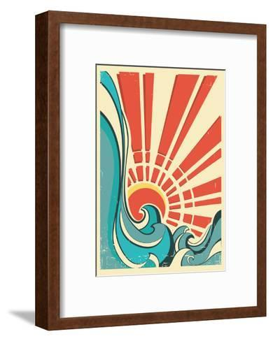Sea Waves.Vintage Illustration Of Nature Poster With Yellow Sun On Old Paper Texture-GeraKTV-Framed Art Print