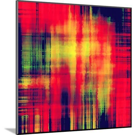 Art Abstract Geometric Pattern, Background In Bright Red , Gold And Green Colors-Irina QQQ-Mounted Art Print