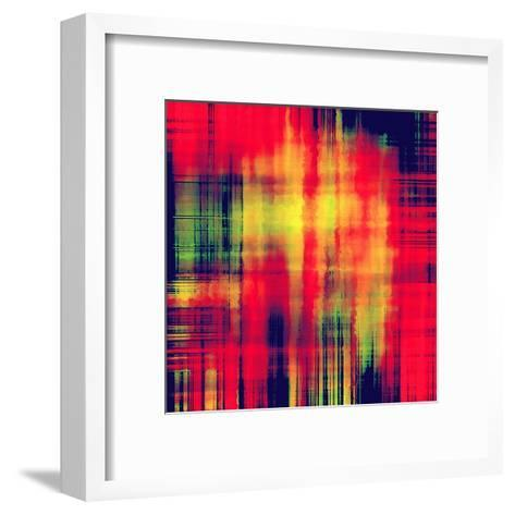 Art Abstract Geometric Pattern, Background In Bright Red , Gold And Green Colors-Irina QQQ-Framed Art Print