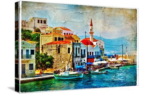 Beautiful Kastelorizo Bay (Greece, Dodecanes) - Artwork In Painting Style-Maugli-l-Stretched Canvas Print