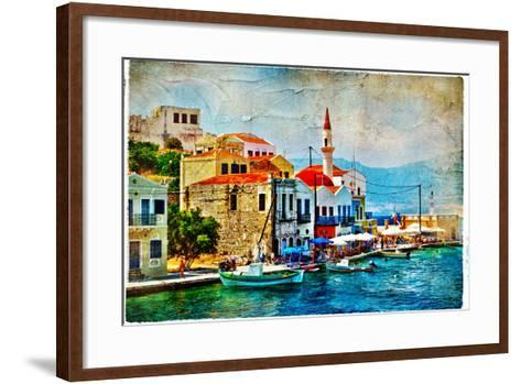 Beautiful Kastelorizo Bay (Greece, Dodecanes) - Artwork In Painting Style-Maugli-l-Framed Art Print