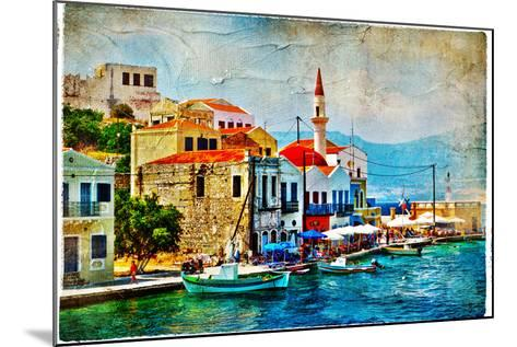 Beautiful Kastelorizo Bay (Greece, Dodecanes) - Artwork In Painting Style-Maugli-l-Mounted Art Print