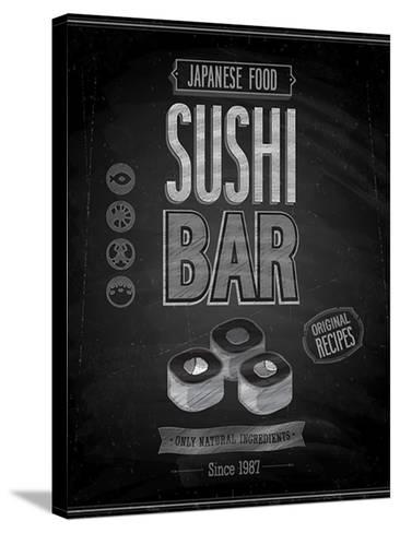 Vintage Sushi Bar Poster - Chalkboard-avean-Stretched Canvas Print