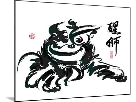 Ink Painting Of Chinese Lion Dance Translation Of Chinese Text: The Consciousness Of Lion-yienkeat-Mounted Art Print