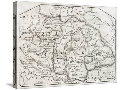 Old Map Of Hungary. By Unidentified Author, Published On Magasin Pittoresque, Paris, 1850-marzolino-Stretched Canvas Print