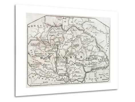 Old Map Of Hungary. By Unidentified Author, Published On Magasin Pittoresque, Paris, 1850-marzolino-Metal Print
