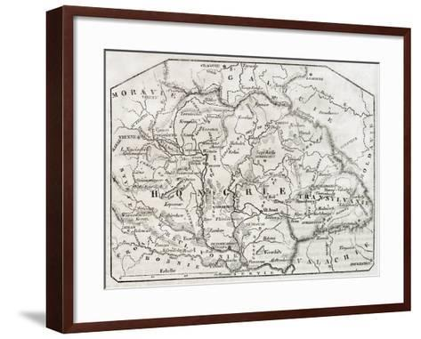 Old Map Of Hungary. By Unidentified Author, Published On Magasin Pittoresque, Paris, 1850-marzolino-Framed Art Print