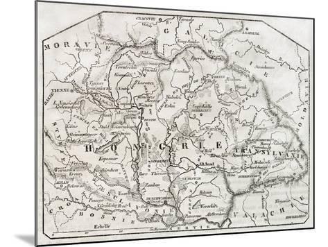 Old Map Of Hungary. By Unidentified Author, Published On Magasin Pittoresque, Paris, 1850-marzolino-Mounted Art Print