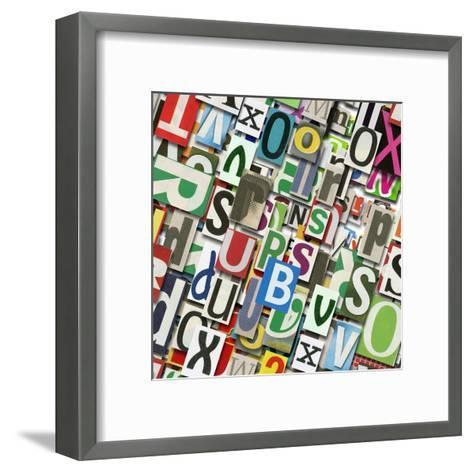 Designed Background. Digital Collage Made Of Newspaper Clippings-donatas1205-Framed Art Print