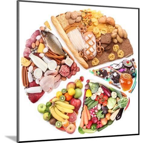 Food For A Balanced Diet In The Form Of Circle. Isolated On White-Volff-Mounted Art Print