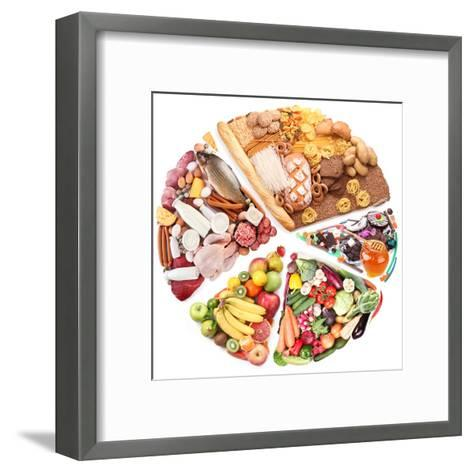 Food For A Balanced Diet In The Form Of Circle. Isolated On White-Volff-Framed Art Print