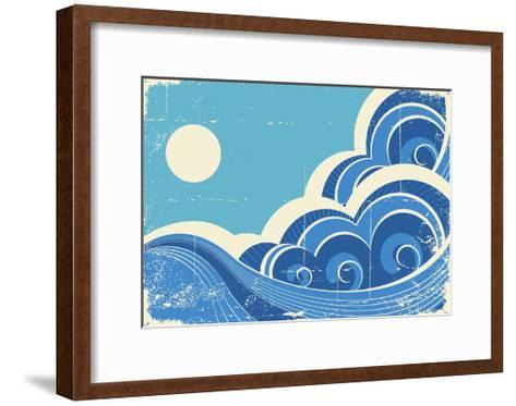 Abstract Sea Waves Grunge Illustration Of Sea Landscape-GeraKTV-Framed Art Print