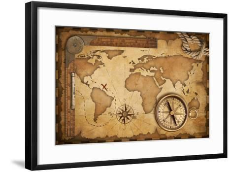 Aged Treasure Map, Ruler, Rope And Old Brass Compass Still Life-Andrey_Kuzmin-Framed Art Print