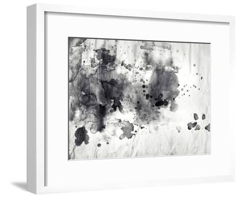 Abstract Black And White Ink Painting On Grunge Paper Texture-run4it-Framed Art Print