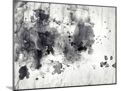 Abstract Black And White Ink Painting On Grunge Paper Texture-run4it-Mounted Art Print